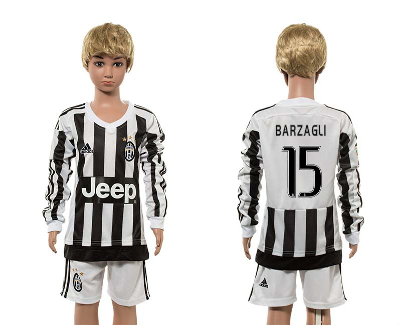 2015-16 Juventus 15 BARZAGLI Home Youth Long Sleeve Jersey