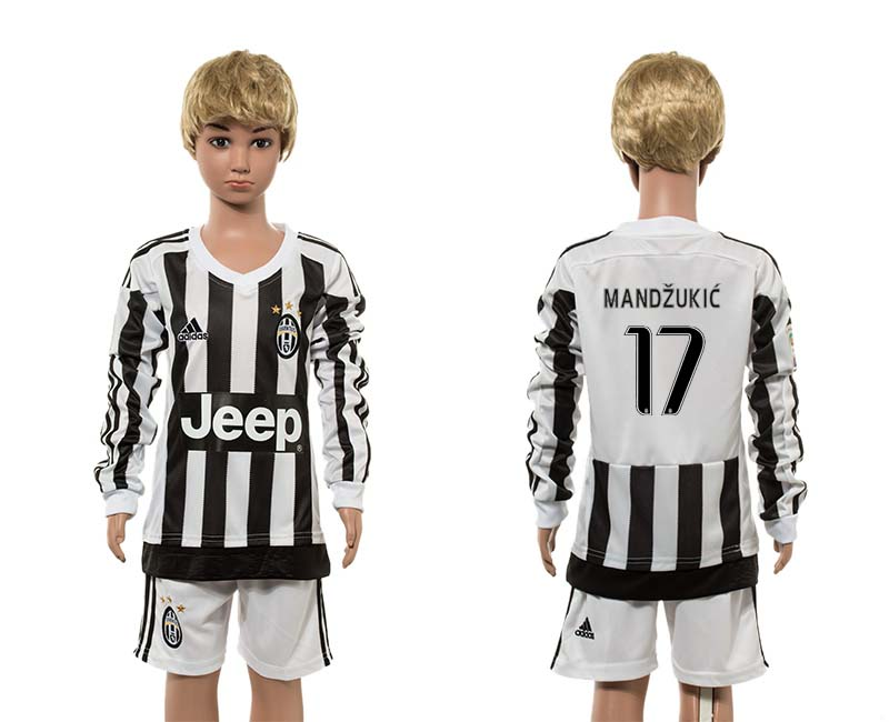 2015-16 Juventus 17 MANDZUKIC Home Youth Long Sleeve Jersey