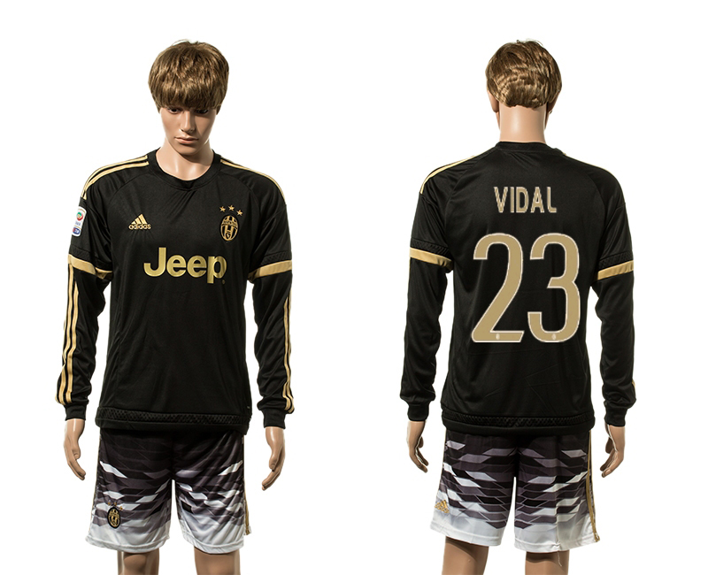 2015-16 Juventus 23 VIDAL Third Away Long Sleeve Jersey
