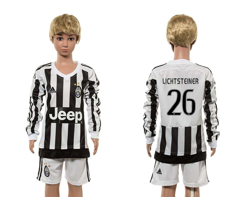 2015-16 Juventus 26 LICHTSTEINER Home Youth Long Sleeve Jersey