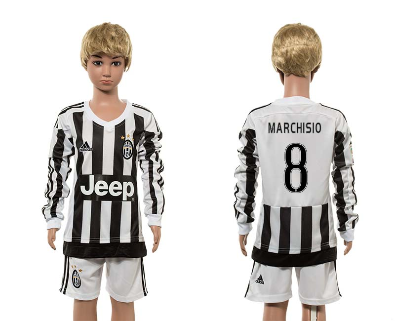 2015-16 Juventus 8 MARCHISIO Home Youth Long Sleeve Jersey
