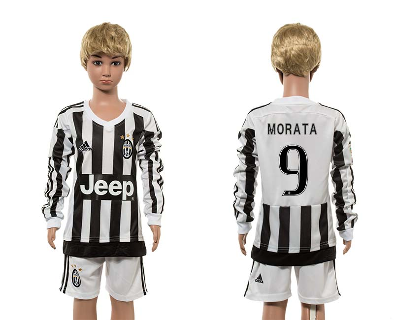 2015-16 Juventus 9 MORATA Home Youth Long Sleeve Jersey