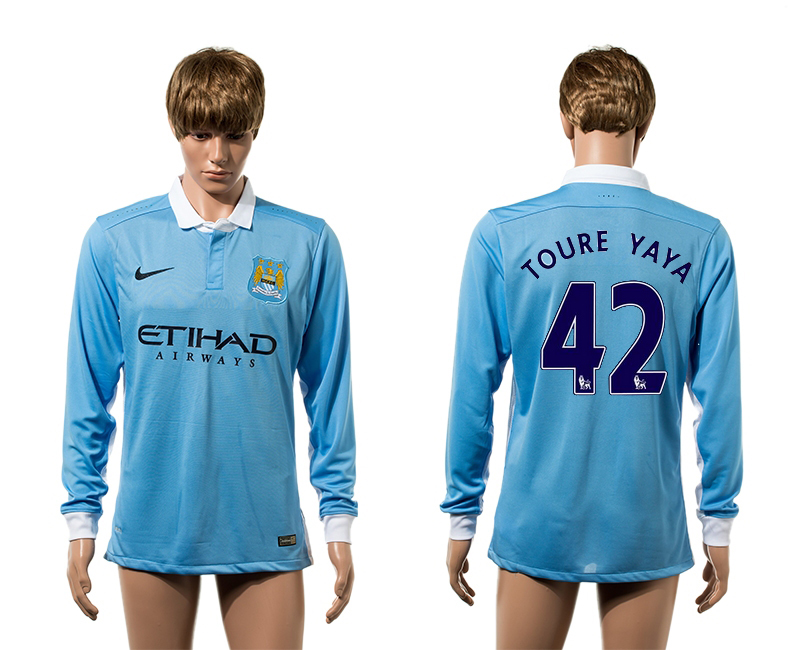 2015-16 Manchester City 42 TOURE YAYA Home Long Sleeve Thailand Jersey