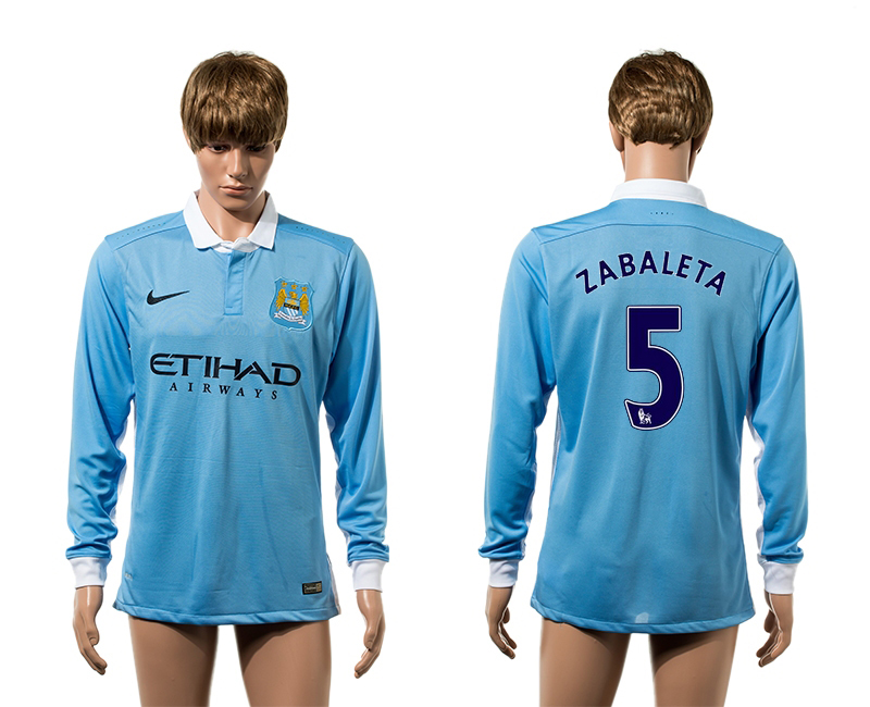2015-16 Manchester City 5 ZABALETA Home Long Sleeve Thailand Jersey