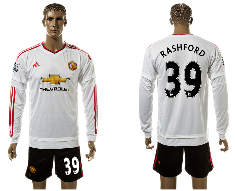 2015-16 Manchester United 39 RASHFORD Away Long Sleeve Jersey