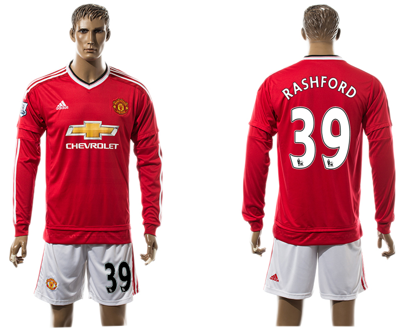 2015-16 Manchester United 39 RASHFORD Home Long Sleeve Jersey
