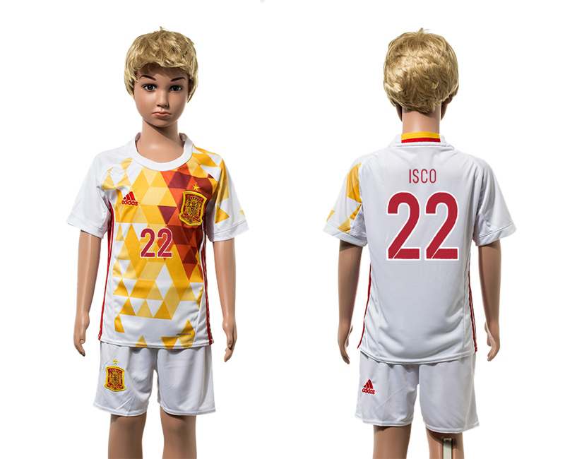 Spain 22 ISCO Away Youth UEFA Euro 2016 Jersey