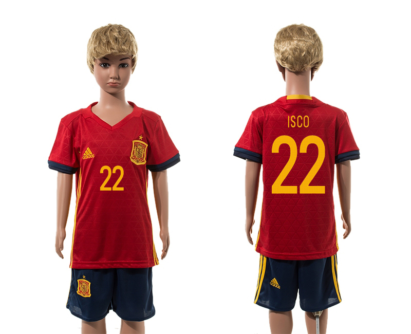 Spain 22 ISCO Home Youth UEFA Euro 2016 Jersey