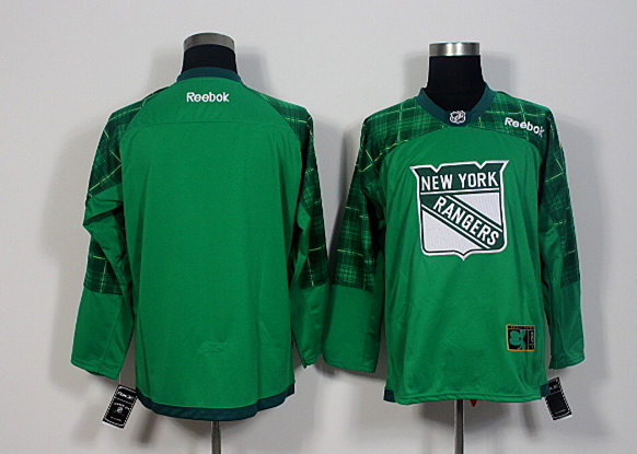 Rangers Blank Green St. Patrick's Day Reebok Jersey