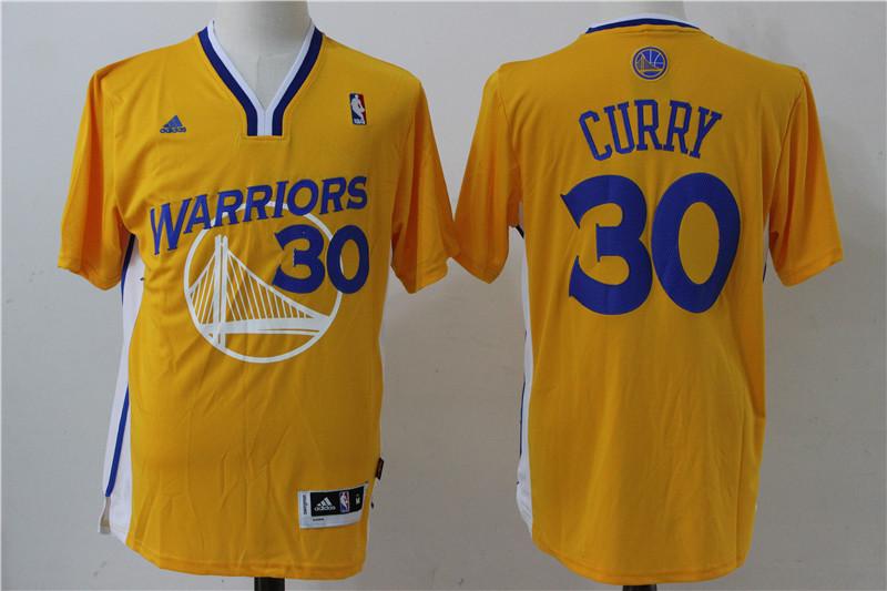 Warriors 30 Stephen Curry Yellow Short Sleeve Swingman Jersey