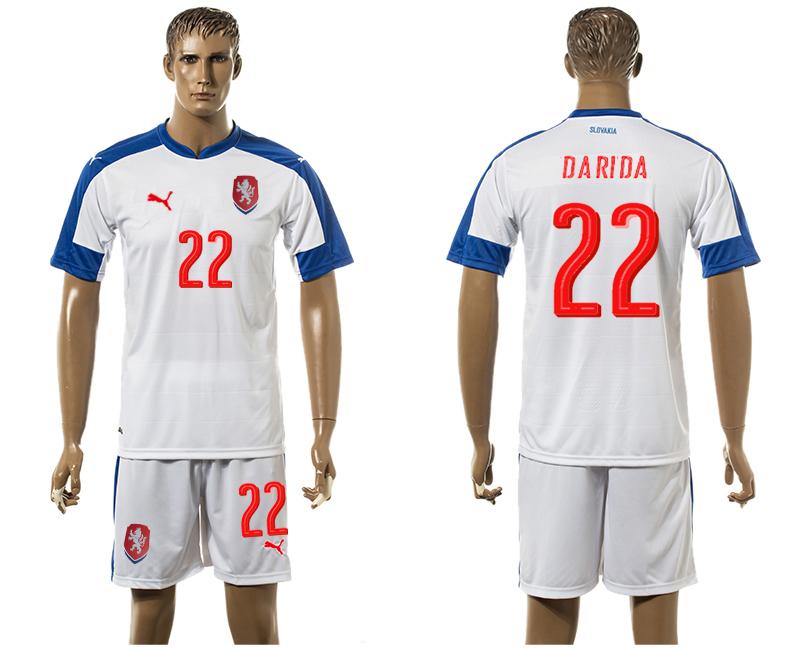 Czech Republic 22 DARIDA Away UEFA Euro 2016 Soccer Jersey