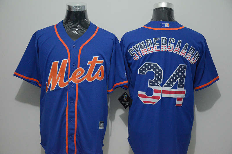 Mets 34 Noah Syndergaard Blue US Flag New Cool Base Jersey