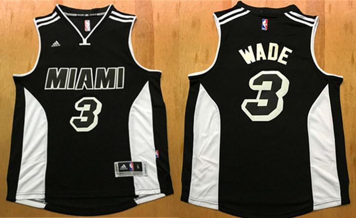 Heat 3 Dwyane Wade Black Swingman Jersey