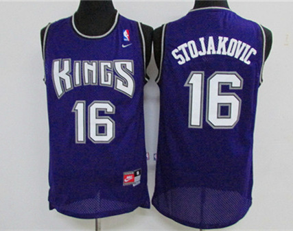 Kings 16 Peja Stojakovic Purple Stitched Jersey