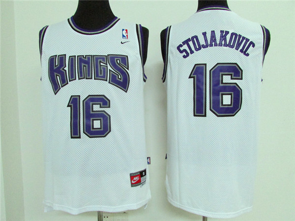 Kings 16 Peja Stojakovic White Stitched Jersey