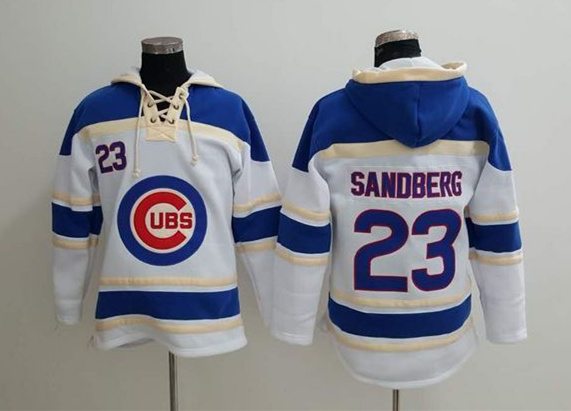 Cubs 23 Ryne Sandberg White All Stitched Sweatshirt
