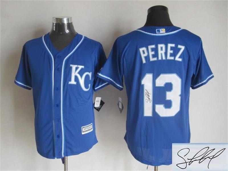 Royals 13 Salvador Perez Royal Blue Signature Edition New Cool Base Jersey