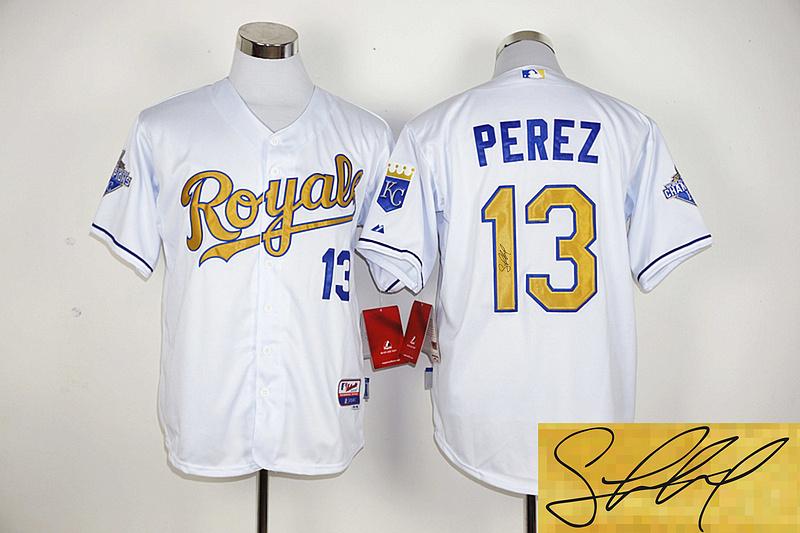 Royals 13 Salvador Perez White 2015 World Series Champions Signature Edition Cool Base Jersey