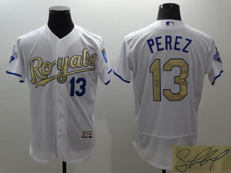 Royals 13 Salvador Perez White 2015 World Series Signature Edition Flexbase Jersey