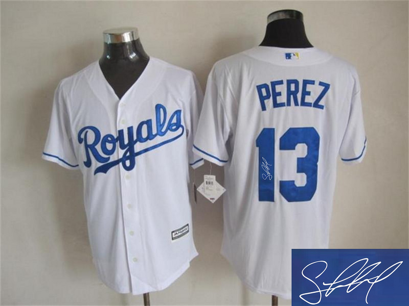 Royals 13 Salvador Perez White Signature Edition New Cool Base Jersey