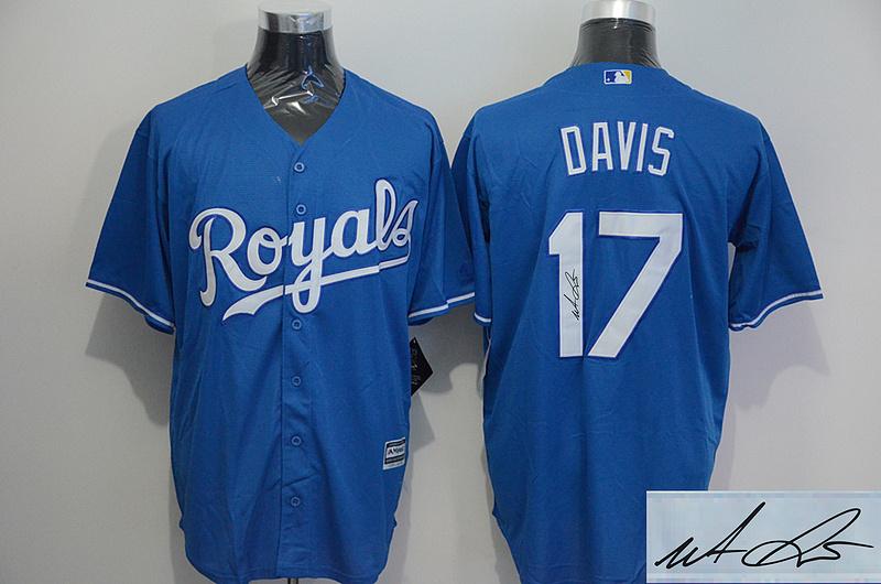 Royals 17 Wade Davis Light Blue Signature Edition New Cool Base Jersey