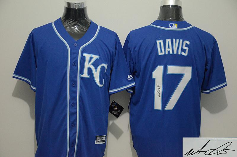 Royals 17 Wade Davis Royal Blue Signature Edition New Cool Base Jersey