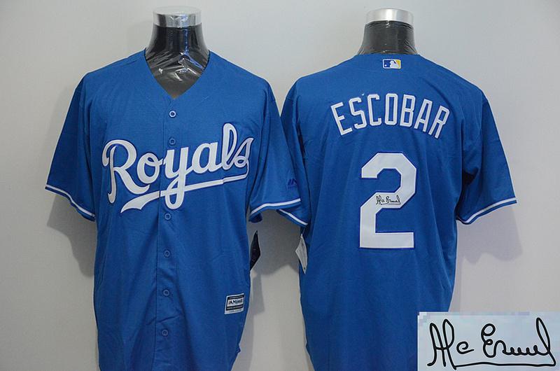 Royals 2 Alcides Escobar Light Blue Signature Edition New Cool Base Jersey
