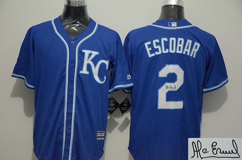 Royals 2 Alcides Escobar Royal Blue Signature Edition New Cool Base Jersey