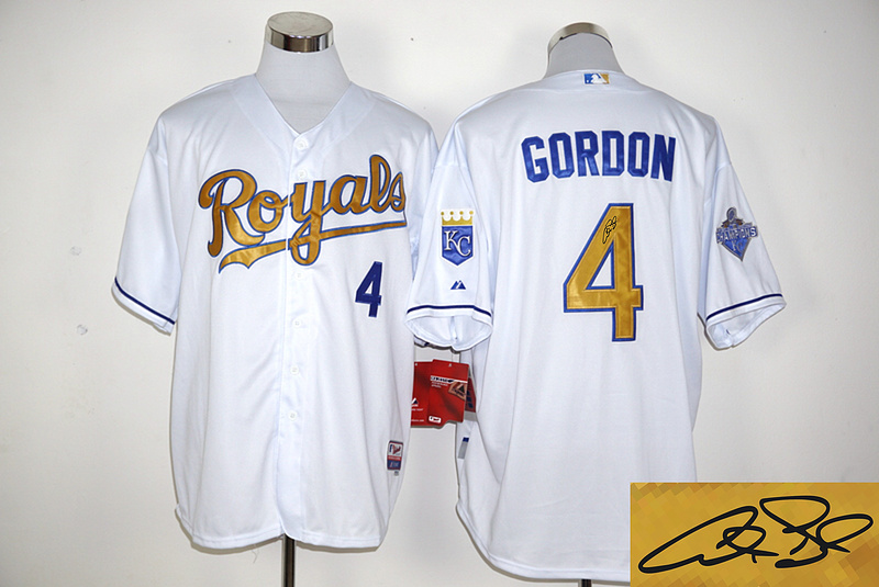 Royals 4 Alex Gordon White 2015 World Series Champions Signature Edition Cool Base Jersey