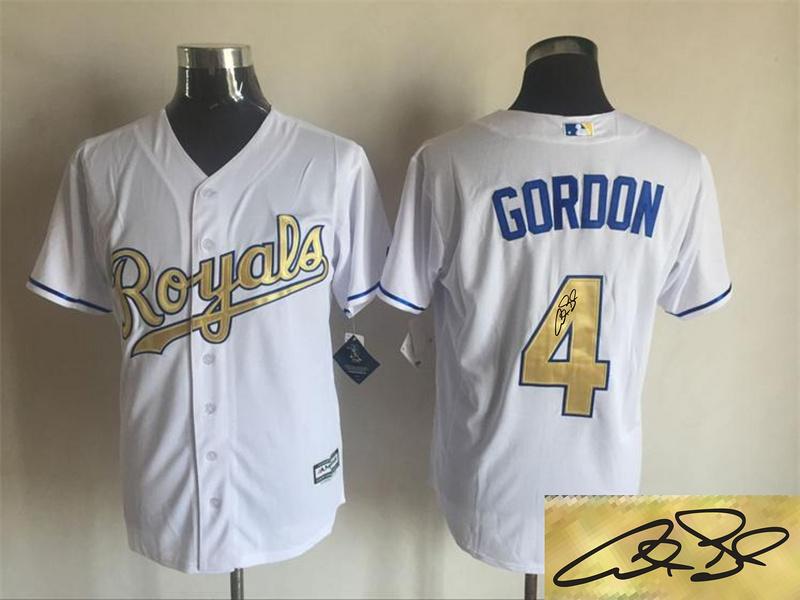 Royals 4 Alex Gordon White 2015 World Series Champions Signature Edition New Cool Base Jersey