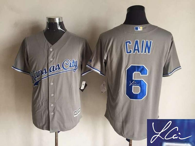 Royals 6 Lorenzo Cain Grey Signature Edition New Cool Base Jersey