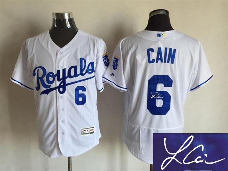 Royals 6 Lorenzo Cain White Signature Edition Flexbase Jersey