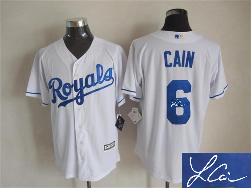 Royals 6 Lorenzo Cain White Signature Edition New Cool Base Jersey