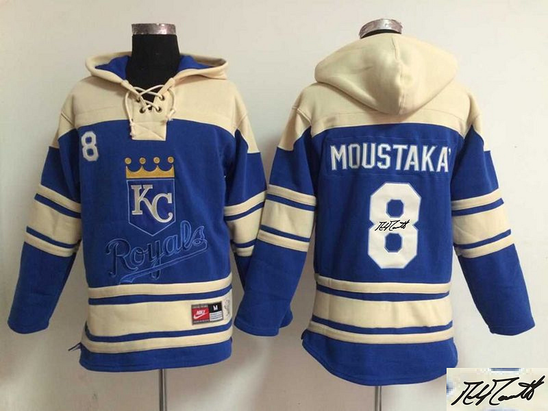 Royals 8 Mike Moustakas Royal Blue Signature Edition All Stitched Hooded Sweatshirt