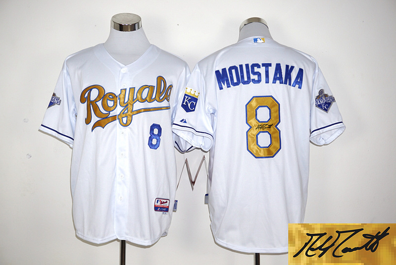 Royals 8 Mike Moustakas White 2015 World Series Champions Signature Edition Cool Base Jersey