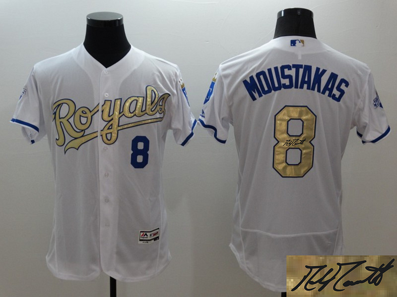 Royals 8 Mike Moustakas White 2015 World Series Champions Signature Edition Flexbase Jersey