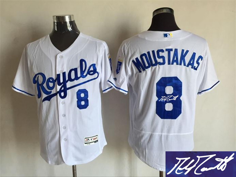 Royals 8 Mike Moustakas White Signature Edition Flexbase Jersey