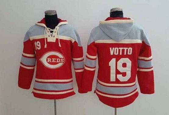 Reds 19 Joey Votto Red All Stitched Sweatshirt