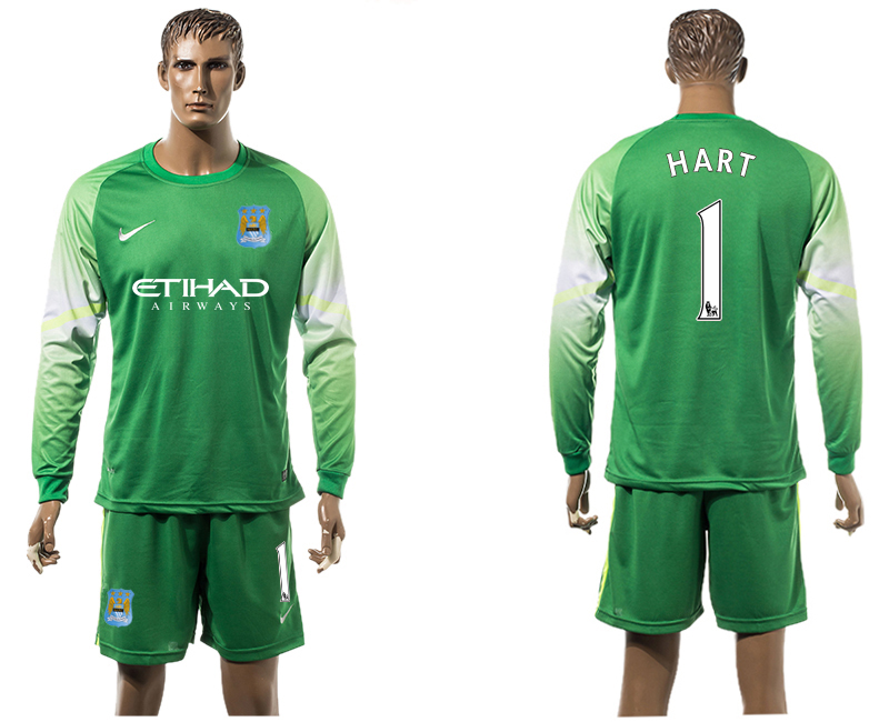 2015-16 Manchester City 1 HART Goalkeeper Long Sleeve Soccer Jersey