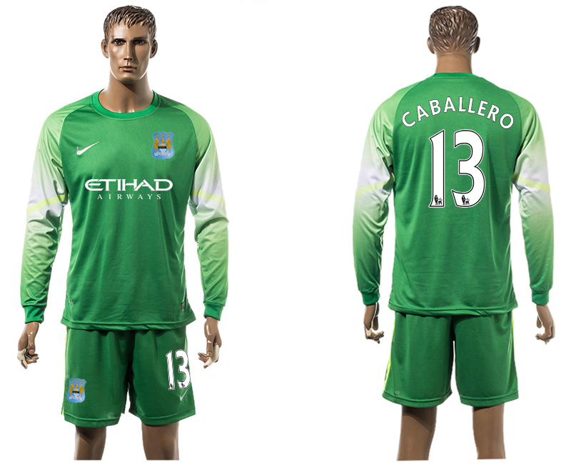 2015-16 Manchester City 13 CABALLERO Goalkeeper Long Sleeve Soccer Jersey