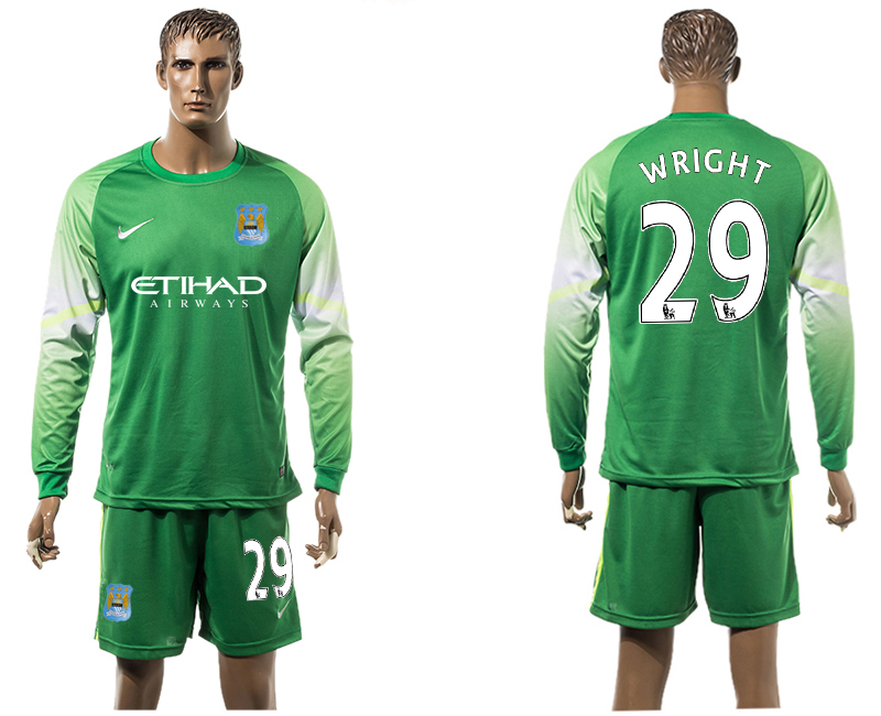 2015-16 Manchester City 29 WRIGHT Goalkeeper Long Sleeve Soccer Jersey