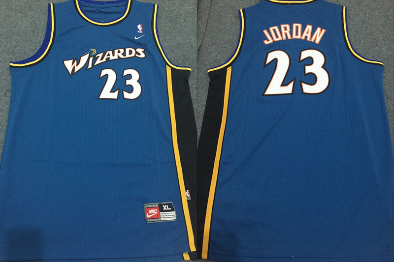 Wizards 23 Michael Jordan Blue Nike Jersey