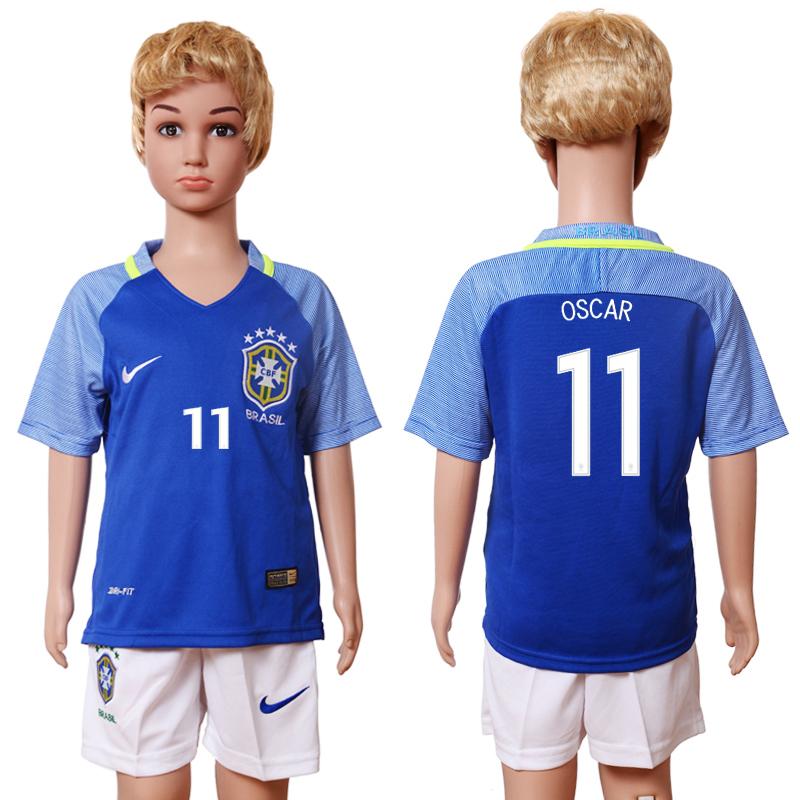 Brazil 11 OSCAR Away Youth 2016 Copa America Centenario Soccer Jersey