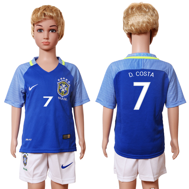 Brazil 7 D.COSTA Away Youth 2016 Copa America Centenario Soccer Jersey