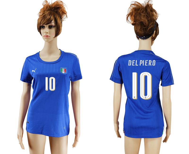 Italy 10 DEL PIEEO Home Women UEFA Euro 2016 Soccer Jersey