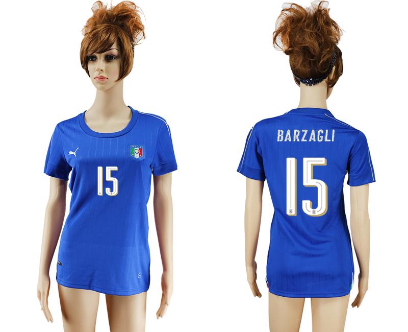 Italy 15 BARZAGLI Home Women UEFA Euro 2016 Soccer Jersey