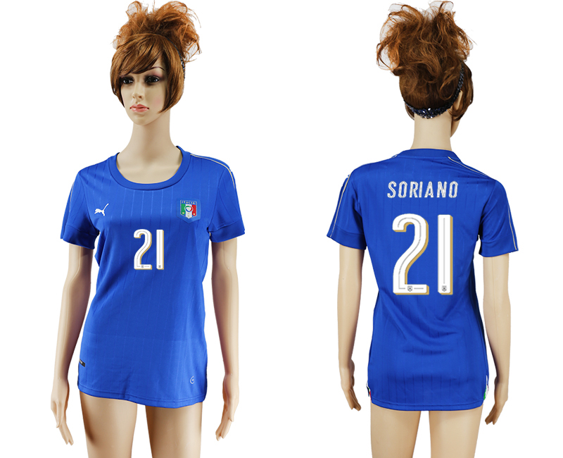 Italy 21 SORIANO Home Women UEFA Euro 2016 Soccer Jersey