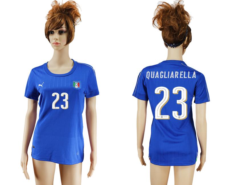Italy 23 QUAGLIARELLA Home Women UEFA Euro 2016 Soccer Jersey
