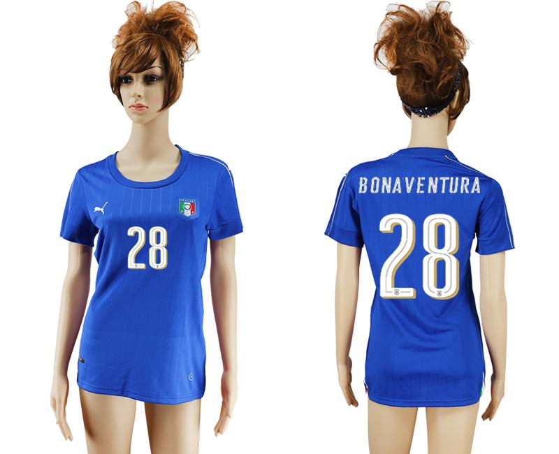 Italy 28 BONAVENTURA Home Women UEFA Euro 2016 Soccer Jersey
