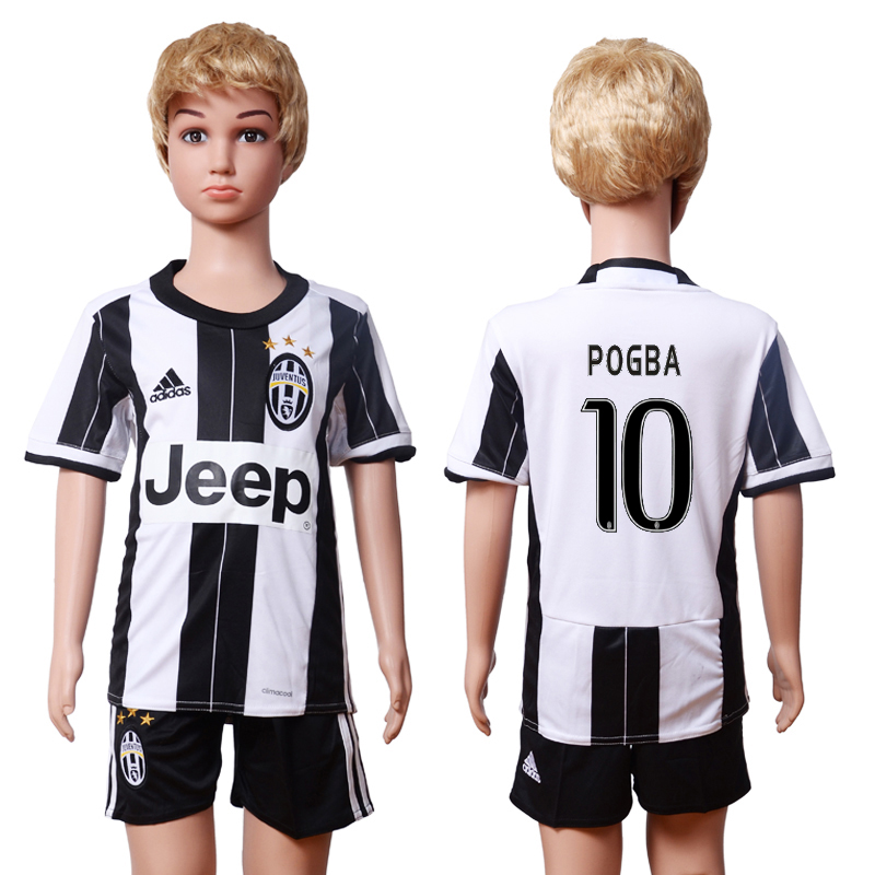 2016-17 Juventus 10 POGBA Home Youth Soccer Jersey
